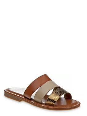 Nanette Lepore Multi-Strap Metallic Fashion Slide Sandals (Little Girls & Big Girls)