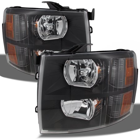 07 13 Chevy Silverado Replacement Black Headlights Headlamps Left   Right Pair