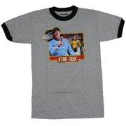 Star Trek Ringer Mens T-Shirt - Retro Style Iron On Spock & Captain Kirk Bridge