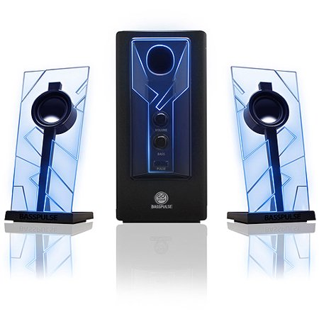GOgroove BassPULSE Glowing Blue LED Computer Speaker Sound System - Works with Dell , ASUS , Lenovo , Apple , Alienware and More Desktops , Laptops , Gaming Towers and Steam