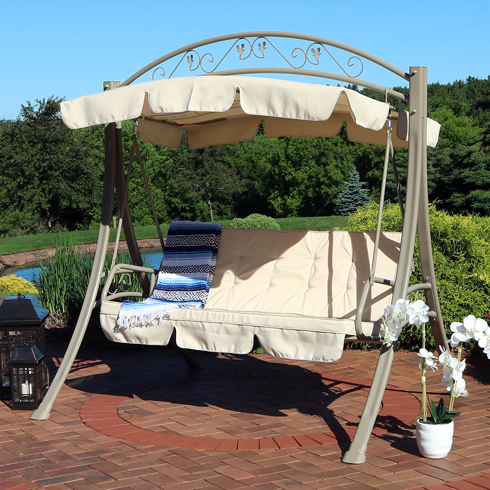 Sunnydaze Deluxe 3-Seat Patio Swing with Heavy Duty Steel Frame, Beige Cushions and Canopy by Sunnydaze Decor