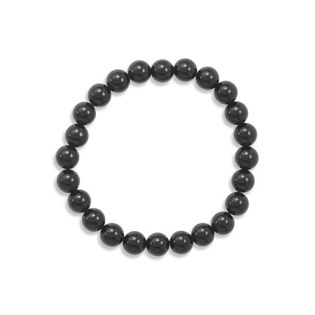 Black Onyx Bead Stretch Bracelet Genuine Stones