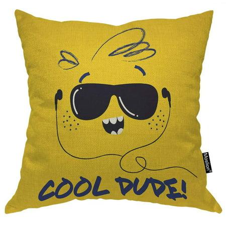 Moslion Sun Pillows Funny Sunshine Face with Sunglasses Music Headphone Doodle Throw Pillow Cover Decorative Pillow Case Square Cushion Accent Cotton Linen Home 18x18 Inch E545-1