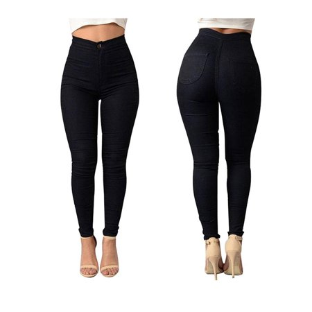 Ladies Stretch Denim (Women High Waist Stretch Slim Fit Denim Skinny Leggings Jegging Pencil Pants Trousers )
