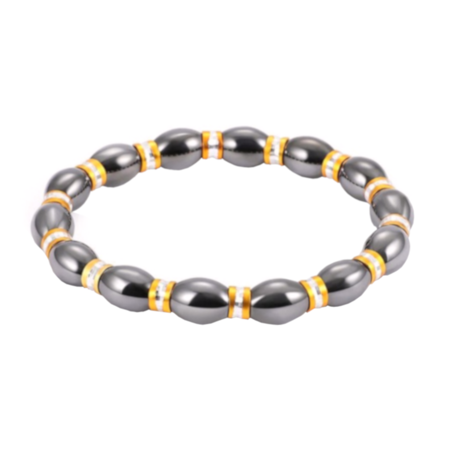 Hematite Magnetic Stretch Bracelet Gold Silver Spacers Gunmetal Color Jewelry, J-263-D