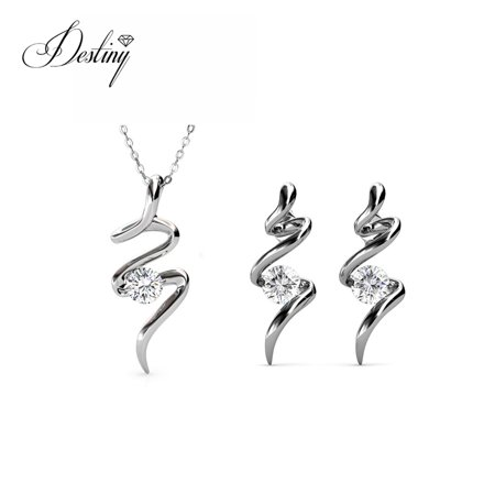 3df41416d Destiny Jewellery Crystals from Swarovski Jewelry Set with 18k White Gold  Plated, Pendant Earrings Set ...