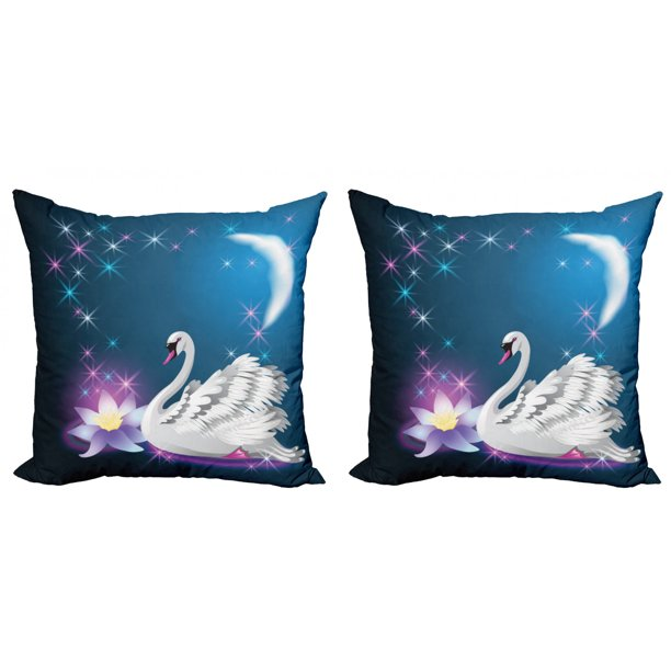 Swan Throw Pillow Cushion Cover Pack Of 2 Magic Lily And Fairy Swan At Night Swimming