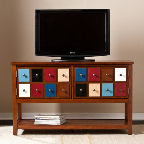 Southern Enterprises Patchwork 48 in. TV/Media Stand - Brown Mahogany