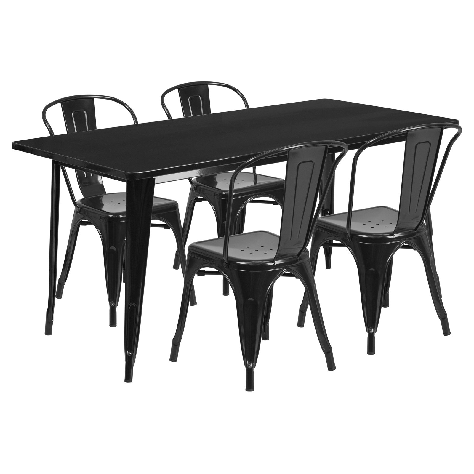 """Flash Furniture 31.5"""" x 63"""" Rectangular Metal Indoor-Outdoor Table Set with 4 Stack Chairs, Multiple Colors"""