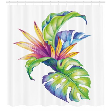 Colour Leaf - Plant Shower Curtain, Tropical Leaves and Monstera with Abstract Color Scheme Hawaiian Floral Elements, Fabric Bathroom Set with Hooks, Multicolor, by Ambesonne