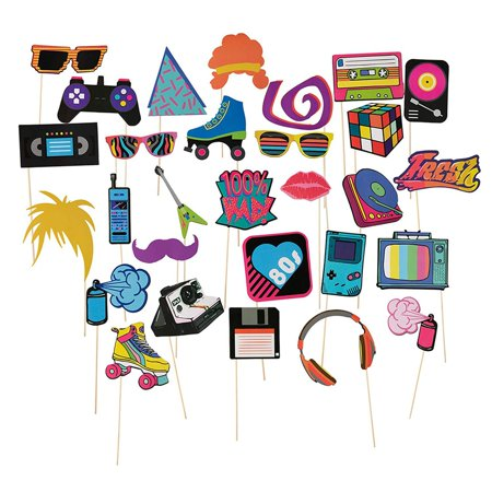 80s Pre-Assembled Photo-Booth Props - 30-Pack Pre-Made 80s Party Supplies, 1980s Theme Birthday Party Decoration Accessories on Bamboo Sticks for Girls, Women, Assorted Designs - 80s Theme Decorations