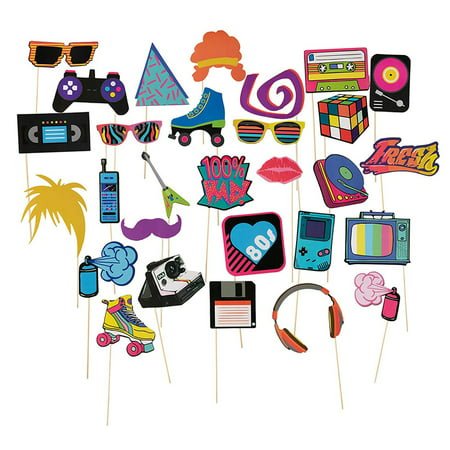 80s Themed Birthday Party (80s Pre-Assembled Photo-Booth Props - 30-Pack Pre-Made 80s Party Supplies, 1980s Theme Birthday Party Decoration Accessories on Bamboo Sticks for Girls, Women, Assorted)
