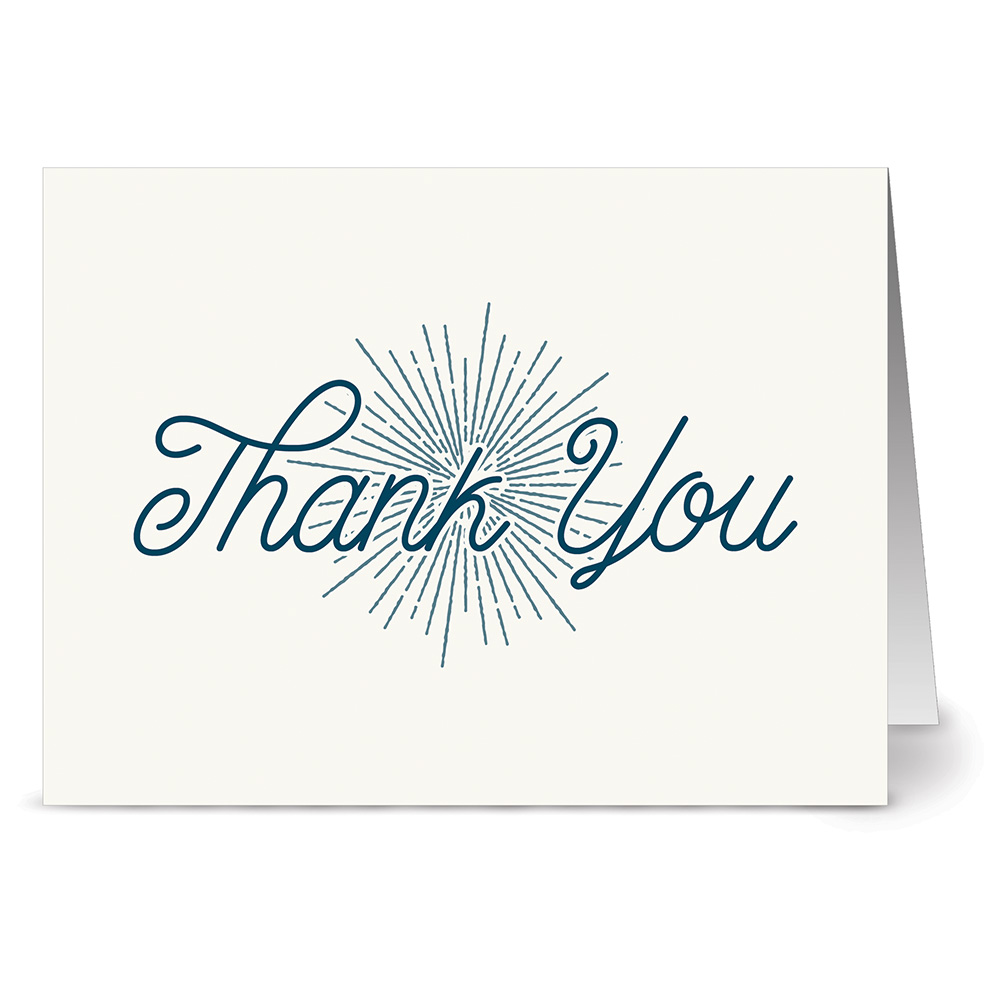 24 Note Cards - Ivory and Blue Retro Thank You - Blank Cards - Kraft Envelopes Included