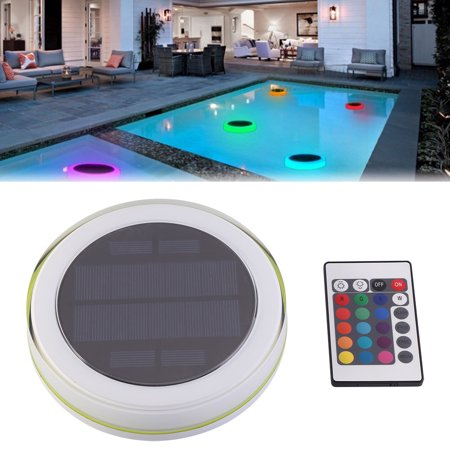 WALFRONT Solar Powered LED Pond Swimming Pool Floating Fountain Light with  Remote Control, Colorful RGB Decoration Lamp
