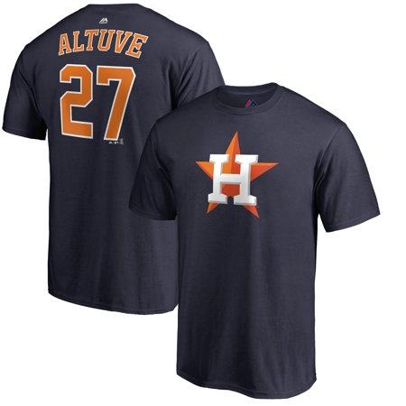 Jose Altuve Houston Astros Majestic Double Play Cap Logo Name & Number T-Shirt - Navy