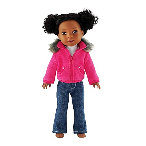 14 Inch Doll Clothes Clothing | Faux Fur Collar Accessory Jacket Outfit with White T-Shirt... by Emily Rose Doll Clothes