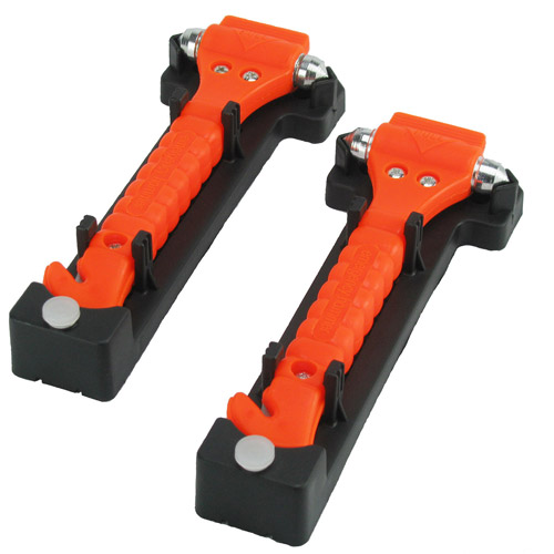 CommuteMate Universal Emergency Hammer Window Punch and Seat Belt Cutter, 2-Pack