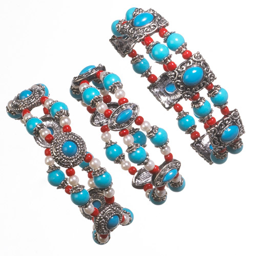 Imitation Turquoise Stretch Bracelets, Set of 3