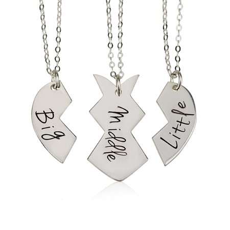 BFF Necklace Best Friends Name Necklace Couple's Breakable Heart Pendant - Personalize with Any Three