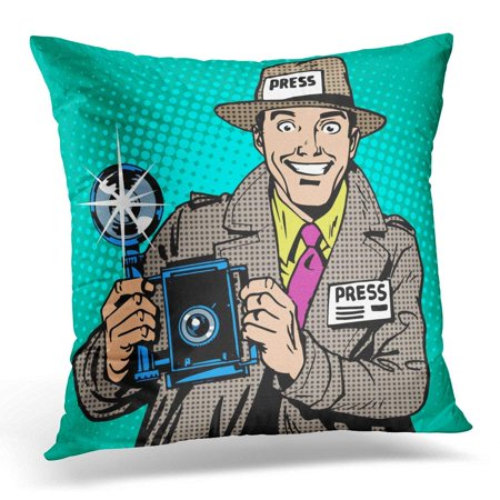BSDHOME Comic Photographer Paparazzi at Work Press Media Camera The Reporter Smiles Pop Retro Style Book Throw Pillow Case Pillow Cover Sofa Home Decor 16x16 Inches - image 1 of 1