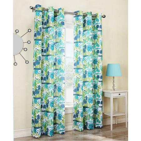 Riptide Beach Print Woven Grommet Curtain Turquoise