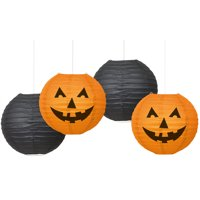 Halloween Paper Lantern Decorations Kit, Orange and Black, 4pc
