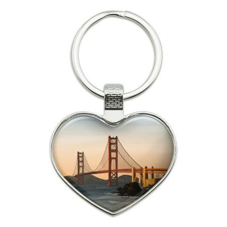 Golden Gate Bridge San Francisco Heart Love Metal Keychain Key Chain (Gold Heart Keychain)
