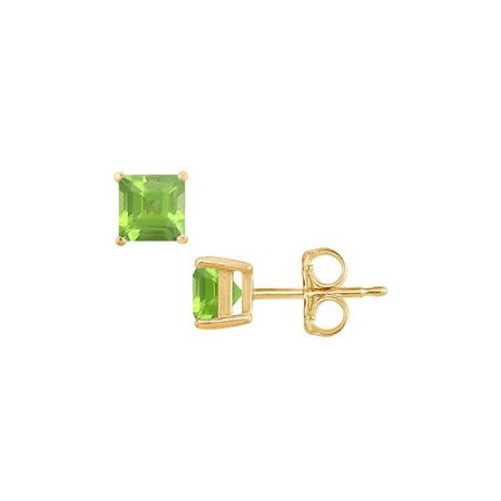 18k Yellow Gold Peridot Earrings (2CT 18K Yellow Gold August Birthstone Square Spring Peridot Stud Earrings)