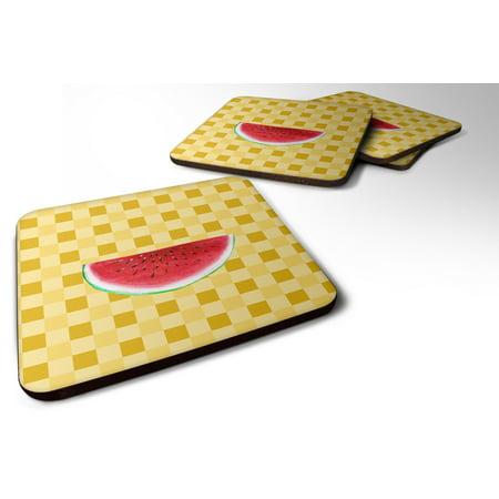 Set of 4 Sliced Watermelon on Basketweave Foam Coasters Set of 4 BB7253FC