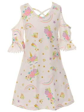 Toddler Girls Cold Shoulder Unicorn Stars Birthday Party Flower Girl Dress Off White 2T XS (P201539P)