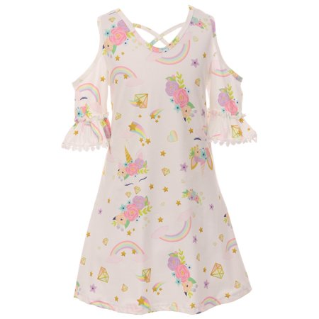 Toddler Girls Cold Shoulder Unicorn Stars Birthday Party Flower Girl Dress Off White 2T XS (P201539P)