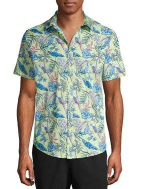 No Boundaries Men's Parrot Print Short Sleeve Button-up Shirt, up to Size 3XL