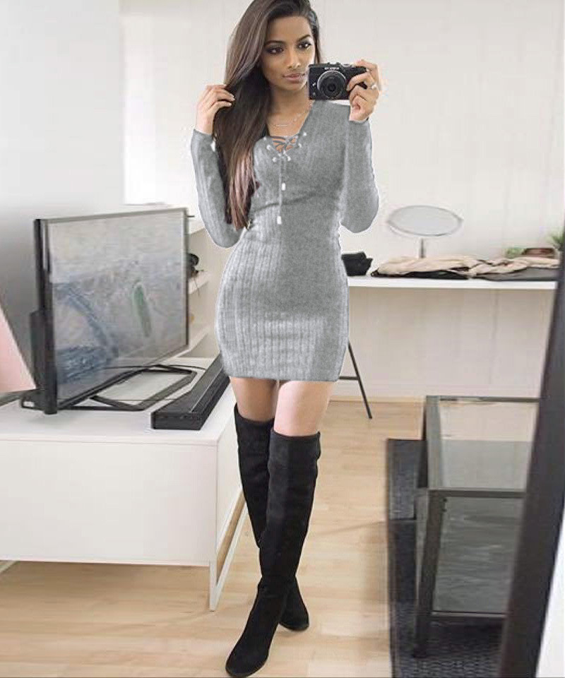 Women Winter Long Sleeve Knitted BodyCon Sweater Dress GY/M