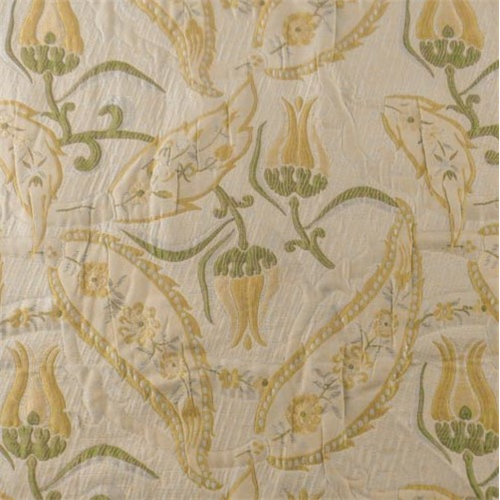 Beige Yellow Green Quilted Paisley Home Decorating Fabric Fabric By