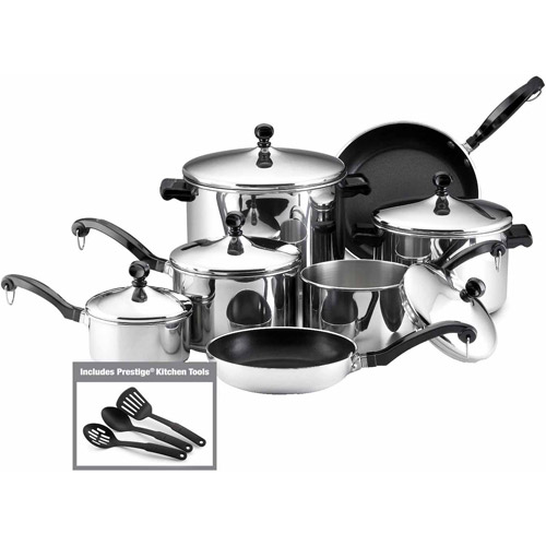 Farberware 15-Piece Cookware Set, Stainless Steel by Farberware