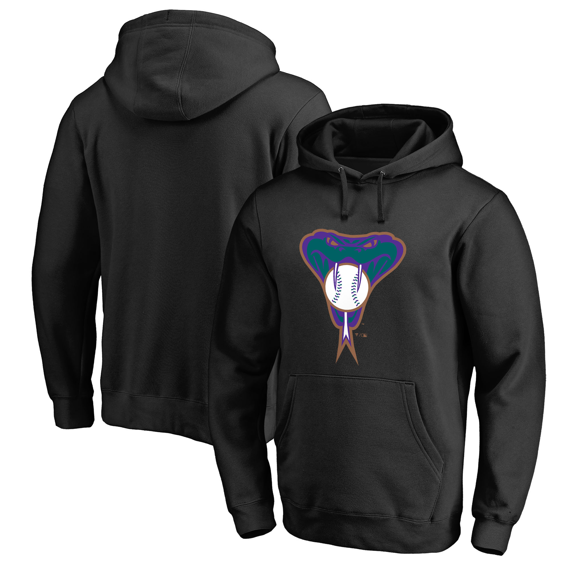 Arizona Diamondbacks Fanatics Branded Cooperstown Collection Huntington Big & Tall Pullover Hoodie - Black