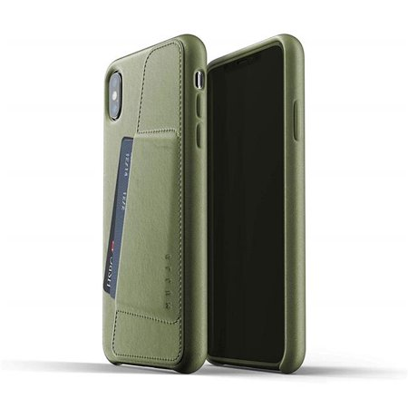 Mujjo MUJJO-CS-102-OL Full Leather Wallet Case for iPhone XS Max - Olive ()