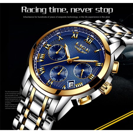 LIGE 9849 Quartz Man Watch Unique Fashion Sport Casual Brand Quartz Clock Luxury Stainless Steel Strap Waterproof Wrist Watch Relogio Masculino - image 4 of 7
