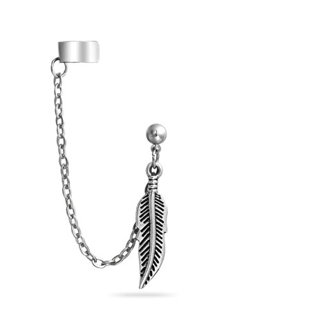 Stainless Steel Feather Dangle Chain Ball Stud Earring Ear Cuff
