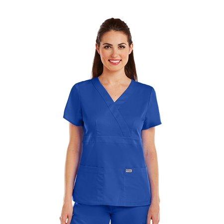 f9ca2ff0e5d GREY'S ANATOMY - Grey's Anatomy Women's Junior Fit Mock Wrap Nurse Scrub  Top - 4153 - Walmart.com