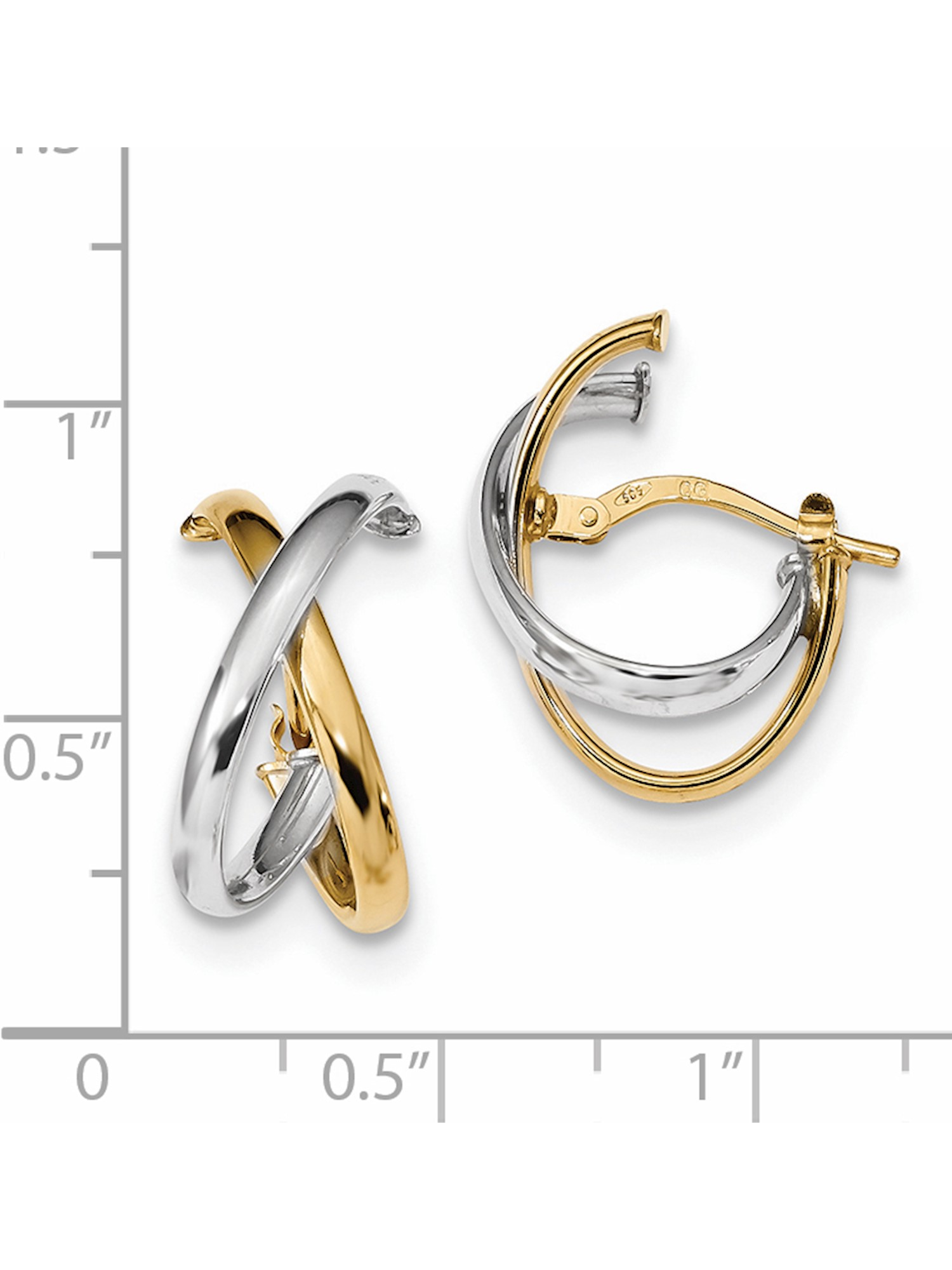 14K Two-Tone Polished Fancy Hoop Earrings