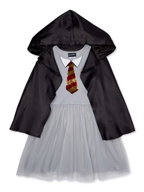 Harry Potter Girls Gryffindor Flip Sequin Wizard Cosplay Dress with Detachable Hooded Cloak, Sizes 4-18