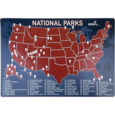 US National Parks Map Fridge Magnet - Travel Map of the United States - The  Perfect Way to Track Your Travels to the US National Parks!