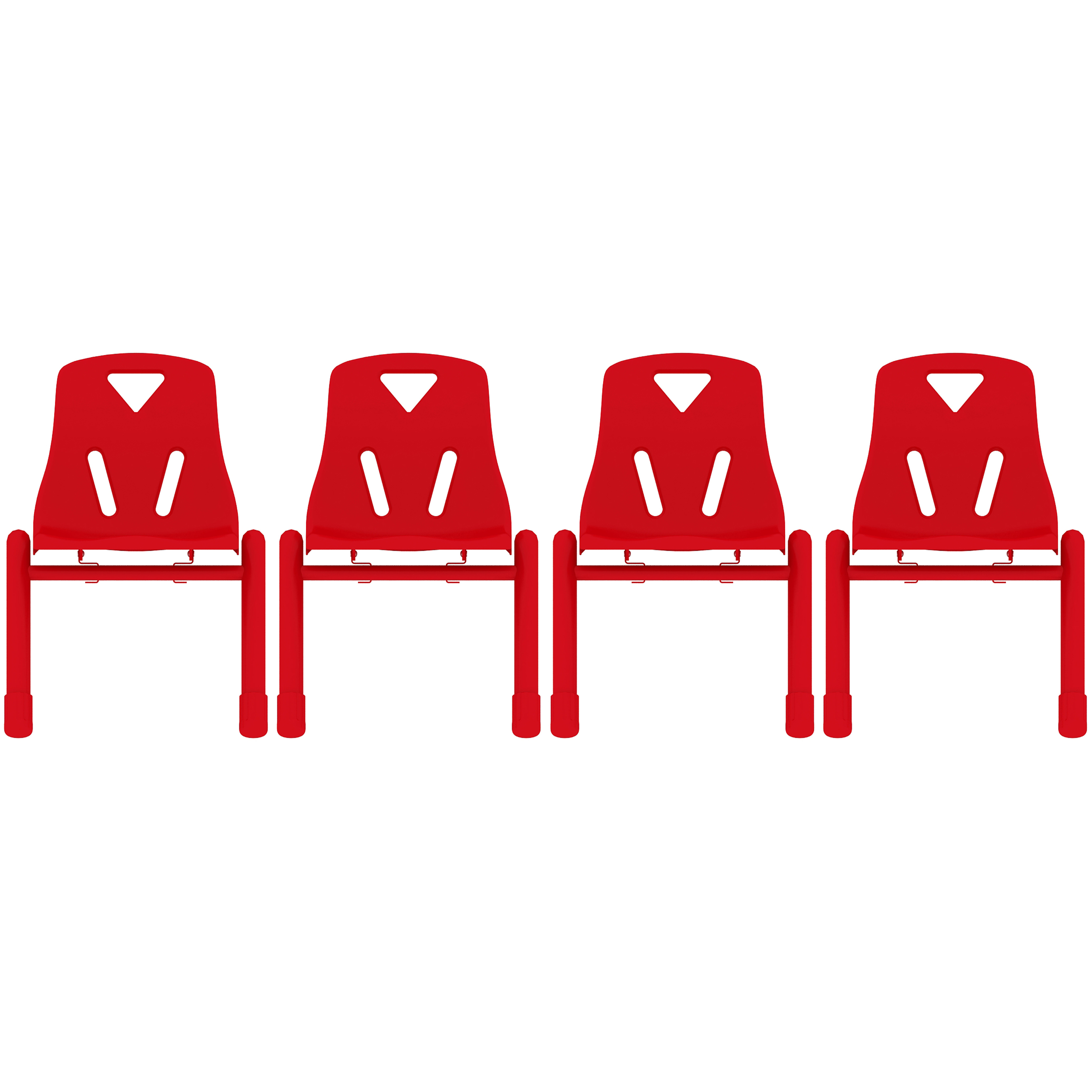 "2xhome - Set of 4, Red 12"" Seat Height Modern Kids Plastic Stacking School Chairs Activity"