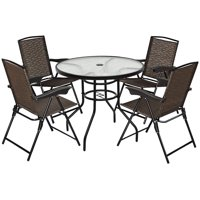 Costway 5PCS Bistro Patio Furniture Set 4 Folding Adjustable Chairs Glass Table W/Hole