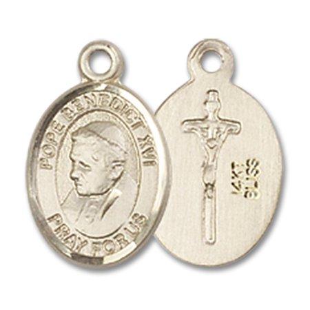 14kt Yellow Gold Pope Benedict XVI Medal 1/2 x 1/4 - Pope Benedict Xvi Medal
