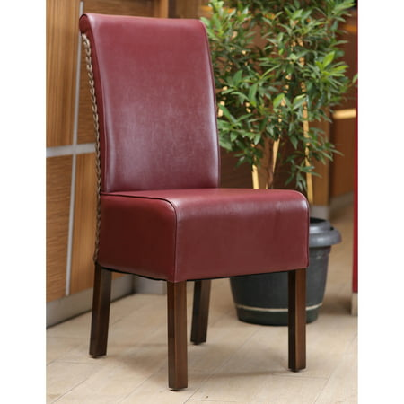 International Caravan  Philip Burgundy Upholstered Rattan Weave Dining Chairs With Mahogany Hardwood Frame  Set Of 2