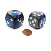 Chessex Gemini 30mm Large D6 Dice, 2 Pieces - Blue-Steel with White Pips #DG3023