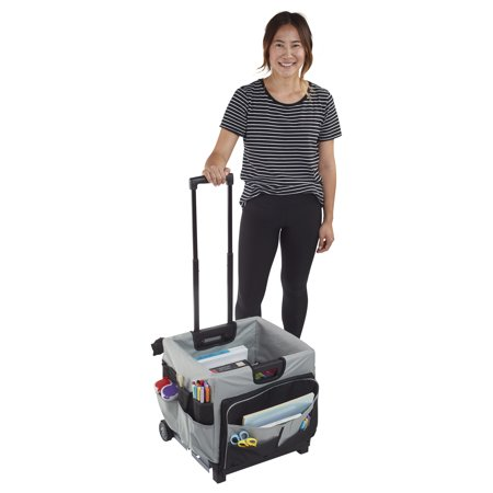 ECR4Kids Universal Rolling Cart and Organizer Bag - Black (Under Bed Rolling Cart)