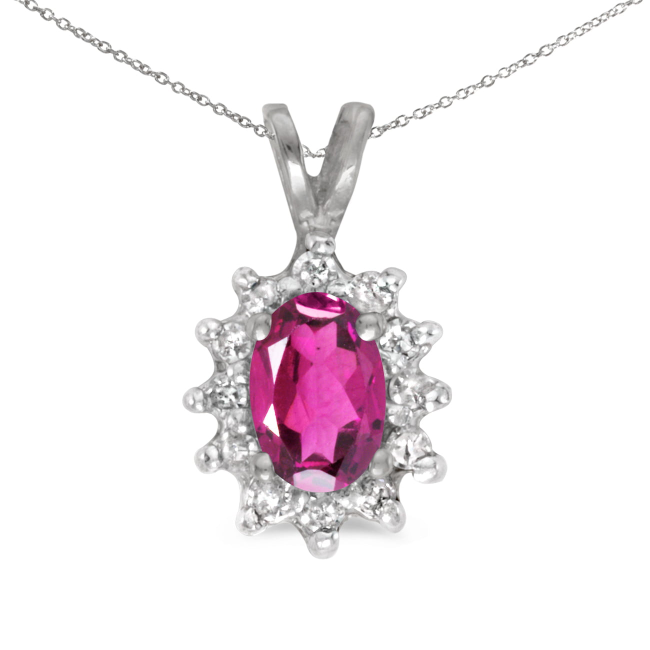 "14k White Gold Oval Pink Topaz And Diamond Pendant with 18"" Chain by"